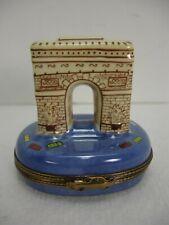 Limoges France Peint Main Arc De Triomphe Porcelain Trinket Box