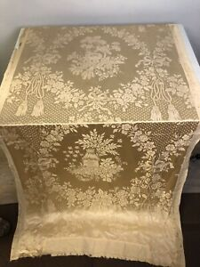 "Antique Vtg 100% Silk Brocade Damask Bird Nest Floral fabric panel 38"" W x 72"""
