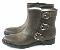 Enzo Angiolini Womens Elliot Ankle Moto Boot Dark Taupe Leather Size 6.5 M