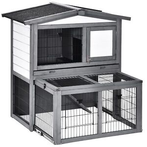 Wooden Rabbit Hutch Small Animal Enclosure Retractable Running Area Large Cage