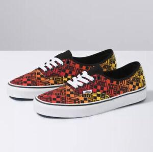 Vans Logo Flame Authentic Classic Skate Shoes Mens 7 / Womens 8.5 Orange Red NWB