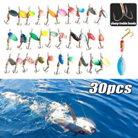 30PCS/Box Fishing Lures Metal Spinner Baits Bass Tackle Crankbait Spoon Trout
