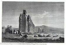 Antique print Rome Italy Ruins of Aqueducts of Claudius near the road to Albano