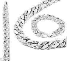 Silver Finish Iced Out Hip Hop CZ Chain & Bracelet Mens Miami Cuban Necklace