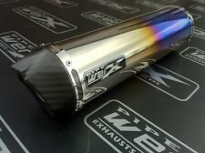 Kawasaki ZX6R G-J 98-01 Colour Titanium Round,Carbon Outlet Exhaust Can,Silencer