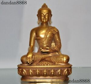 Tibet Buddhism bronze 24k gold Gilt Shakyamuni Sakyamuni Medicine Buddha Statue
