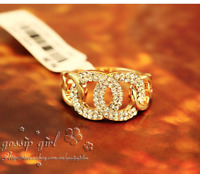 New 18K Gold / Rose Gold GF Crystal Hoops Wedding Engagement Ring Stunning Gift