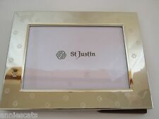 St Justin Cat Shiny Nickel Plated Photo Frame Engraved With Cats & Pawprints