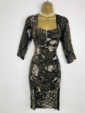 ARIANA Dress size 10 2 Black Brown Grey Snakeskin  Ruched Like FRANK LYMAN Style