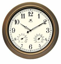 """Large Wall Clock Craftsman 18"""" Thermometer Hygrometer Humidity Outdoor Decor"""