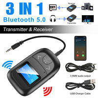 Bluetooth 5.0 Transmitter Receiver 3 IN 1 Wireless Audio USB 3.5mm Aux Adapter