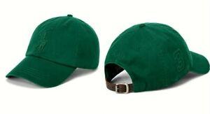 Polo Ralph Lauren Big Pony Cotton Chino Adjustable Green Blue Baseball Cap Hat