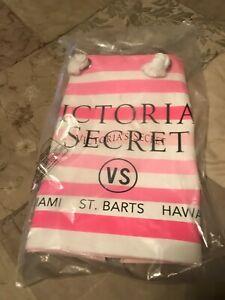 Victoria Secret X-large Beach Canvas Tote Bag Pink & White Stripe NWT