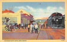 Reno Nevada Southern Pacific Depot Linen Antique Postcard J59179