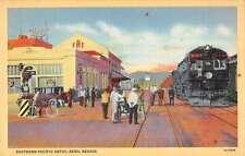 Reno Nevada Southern Pacific Depot Linen Antique Postcard J59179