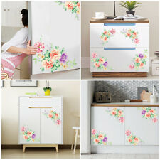 Home Floral Peony Toilet Wall Art PVC Decals Fridge Decor Removable Sticker
