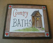 Country Bath Rustic Outhouse art  Bathroom Home Wall Decor Picture plaque Sign