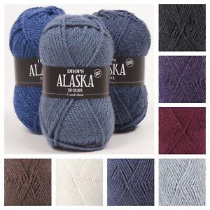 Drops Alaska 100% Wool Aran Knitting Yarn 26 Colours Oeko-Tex Crochet ! SALE !