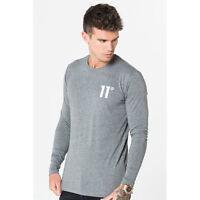 11 Degrees Mens Core T-Shirt Crew Neck Long Sleeve Charcoal