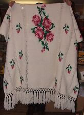 Vintage Hand Crochet Single Bedpread Lap Throw Cross Stitch Embroidery Roses