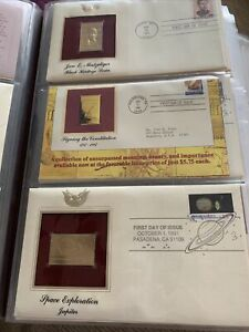 American First Day Covers With Golden Replica Stamps, A Book Full Of First Sets