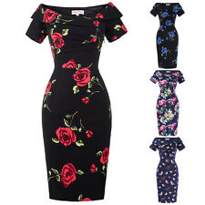 Ladies Retro 50s Floral Pencil Wiggle Evening Midi Dress Formal Bodycon Size4-18
