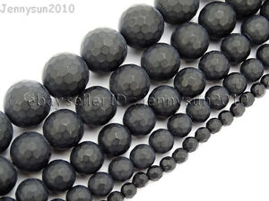 Natural Black Onyx Gemstone Faceted Round Beads Matte 15.5'' 6mm 8mm 10mm 12mm