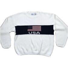 New Era USA Flag Sweater - Vintage 90s - XL - Ivory Knit Pullover Crewneck