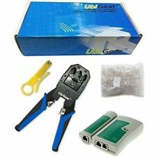 Cable Tester +Crimp Crimper +100 RJ45 CAT5 CAT5e Connector Plug Network Tool