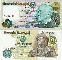 PORTUGAL Lot billets 2 X 20 escudos 1971/1978 - NEUFS - UNC
