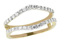 1/4 ct Solitaire Enhancer Diamonds Ring Guard Wrap 14K Gold Over Wedding Band