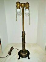 VTG 2-Light Art Deco Nouveau Arts & Craft Mission Rembrandt Table Lamp 1900-1940