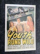 """Youth Runs Wild"" - Original 1944 Trash Movie Film Poster Postcard."