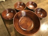 Vintage Wood Wooden Salad Bowl Set 5 pieces