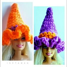 2 Halloween pixie hats for Barbie dolls. Witches hat for Barbie.pixie hat.