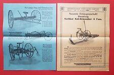 2 x FOGLIO PUBBLICITARIO Mc Cormick Deering raccolto macchine da giardino travi reticolari (f16779