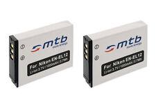 2 Akkus EN-EL12 ENEL12 für Nikon Coolpix S640, S1000pj, S1100pj, S1200pj, S6000