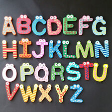 26 Alphabet Wooden Cartoon Letter Fridge Magnets Kids DIY Educational Baby Toy