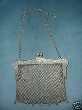 MESH PURSE RETICULATED FRAME GENUINE VINTAGE G.SILVER EARLY 1900's