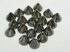 100 GunBlack Metallic Rock Punk Spike Rivet Acrylic Taper Stud Beads 10X8mm