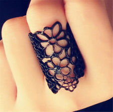 Vintage Gothic Hollow Floral Flower Black Open Ring Elegant Jewelry Gift♫