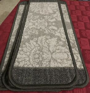 lot of 6 STAIR CARPET RUNNERS GREY FLORAL in Brand New Condition