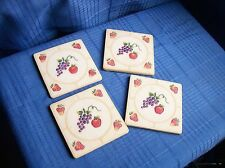Drink Coasters~set of 4~Resin Hard Plastic~Fruit~Grapes~Stra wberries~Country