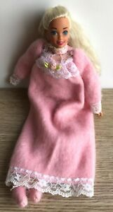 Vintage Mattel 1993 Bedtime Barbie. Soft Body. Pink Nightgown & Slippers