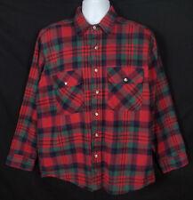 Vtg Five Brother Flannel Shirt Men's Sz L Long Sleeve Button Front Cotton Plaid
