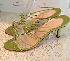 AUTH CHRISTIAN LOUBOUTIN 37 KNOT GREEN LEATHER SANDALS HEELS-PERFECT FOR SPRING!