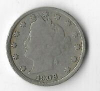 Rare 100 Year Old 1908 US Lady Liberty V Nickel Collection USA Antique Coin L21