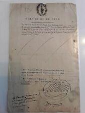 Lettre 1803/Certificat emis par l' HOSPICE DE BICETRE