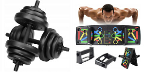 2 in1 20 kg Dumbbell Set 2 x 10 kg and Push-up Board Strength Training NEW