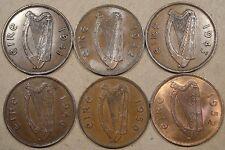 Ireland 6 Pennies 1941,42,43,46,50,+52 Better Circulated Grade - BU